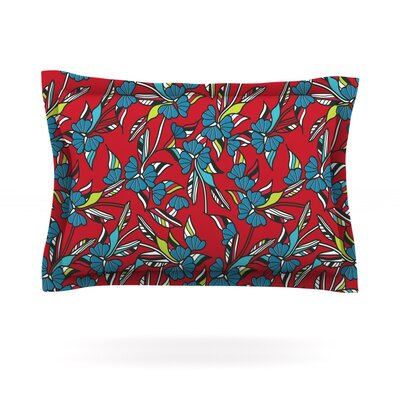 Paper Leaf by Michelle Drew Featherweight Pillow Sham Size: King, Color: Red, Fabric: Cotton