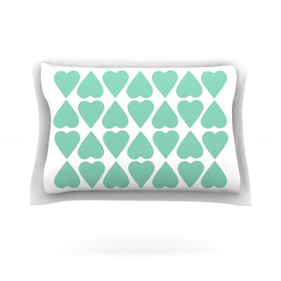Mint Diamond Hearts by Project M Featherweight Pillow Sham Size: King, Fabric: Cotton