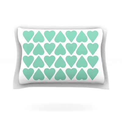 Mint Up and Down Hearts by Project M Featherweight Pillow Sham Size: King, Fabric: Cotton