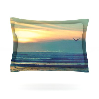 Go Somewhere by Robin Dickinson Featherweight Pillow Sham Size: King, Fabric: Cotton