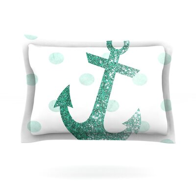 Glitter Anchor in Mint by Nika Martinez Featherweight Pillow Sham Size: Queen