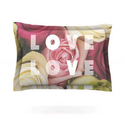 Love Love Love by Libertad Leal Featherweight Pillow Sham Size: King, Fabric: Cotton