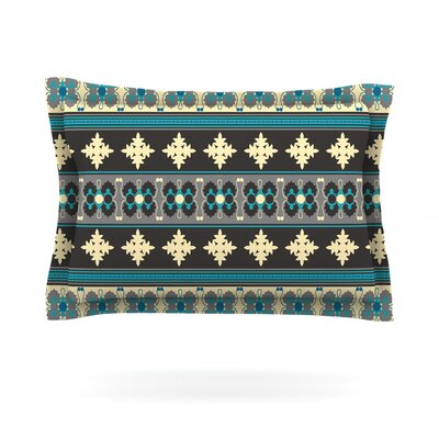 Borders by Nandita Singh Featherweight Pillow Sham Color: Blue/Yellow, Size: King, Fabric: Cotton