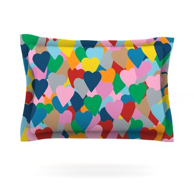 More Hearts by Project M Featherweight Pillow Sham Size: King, Fabric: Cotton