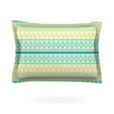 Glitter Chevron in Teal by Nika Martinez Featherweight Pillow Sham Size: King, Fabric: Cotton