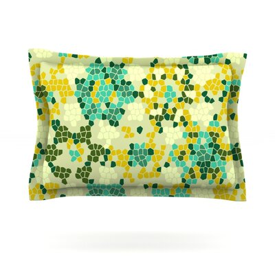 Flower Garden Mosaic by Laura Nicholson Featherweight Pillow Sham Size: King, Fabric: Cotton