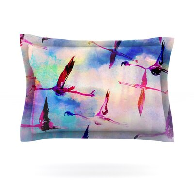 Flamingo in Flight by Nikki Strange Featherweight Pillow Sham Size: Queen, Fabric: Cotton
