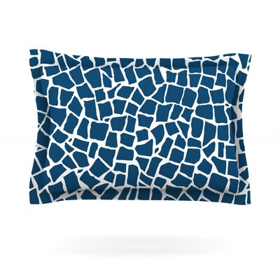 British Mosaic Navy by Project M Featherweight Pillow Sham Size: Queen