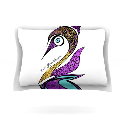 Dreams Swan by Pom Graphic Design Featherweight Pillow Sham Size: Queen, Fabric: Cotton