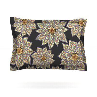 Floral Dance in the Dark by Pom Graphic Design Featherweight Pillow Sham Size: King, Color: Black, Fabric: Cotton