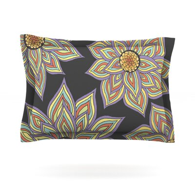 Floral Rhythm in the Dark by Pom Graphic Design Featherweight Pillow Sham Size: King, Color: Black, Fabric: Cotton