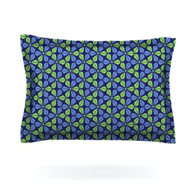 Infinite Flowers by Nick Atkinson Woven Pillow Sham Size: King, Color: Blue