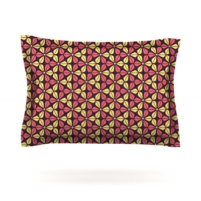 Infinite Flowers by Nick Atkinson Woven Pillow Sham Size: King, Color: Red