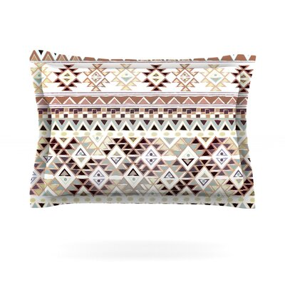 Tribal Native by Nika Martinez Featherweight Pillow Sham Size: Queen, Color: Pastel Brown, Fabric: Cotton