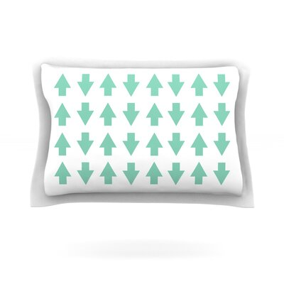 Arrows Up and Down by Project M Featherweight Pillow Sham Size: King, Color: Mint, Fabric: Cotton