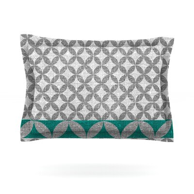 Diamond by Nick Atkinson Woven Pillow Sham Size: Queen, Color: Turquoise