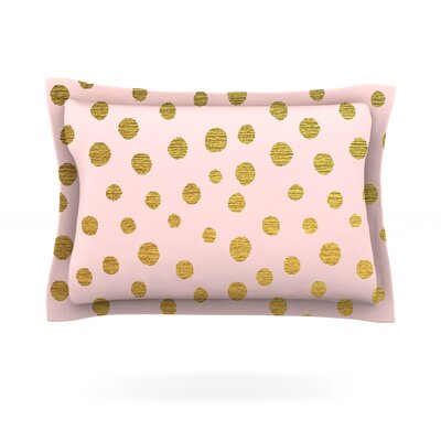 Golden Dots & Pink by Nika Martinez Pillow Sham Size: Queen, Fabric: Cotton