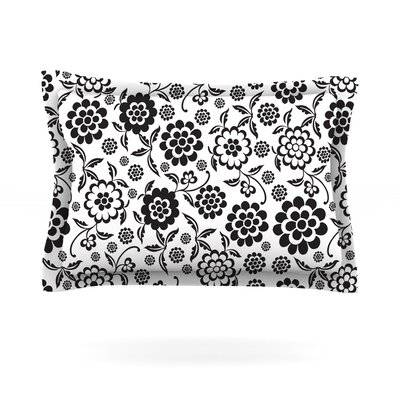 Cherry Floral White by Nicole Ketchum Featherweight Pillow Sham Size: Queen