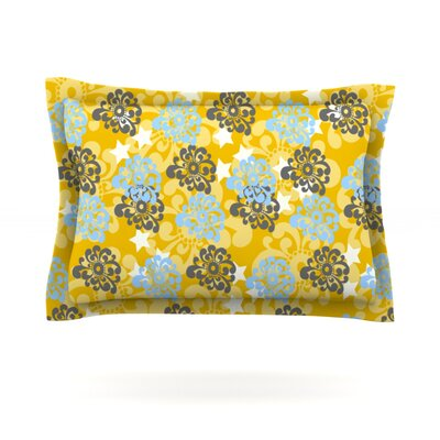 Blue and Yellow Flowers by Nandita Singh Featherweight Pillow Sham Size: Queen, Fabric: Cotton