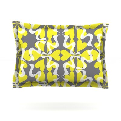 Flowering Hearts by Miranda Mol Featherweight Pillow Sham Size: King, Fabric: Cotton