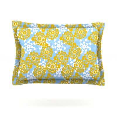 Blue and Yellow Flowers Alternate by Nandita Singh Featherweight Pillow Sham Size: Queen, Fabric: Cotton