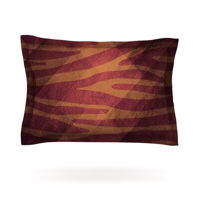 Red Zebra Texture by Nick Atkinson Featherweight Pillow Sham Size: King, Fabric: Cotton