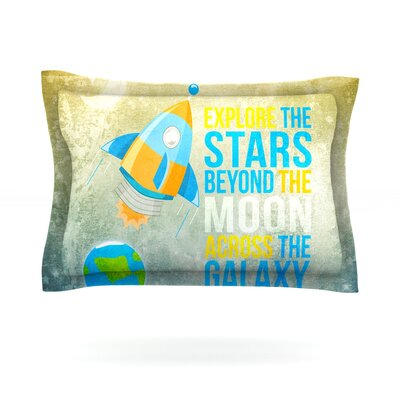 Explore the stars by Nick Atkinson Featherweight Pillow Sham Size: Queen, Fabric: Cotton