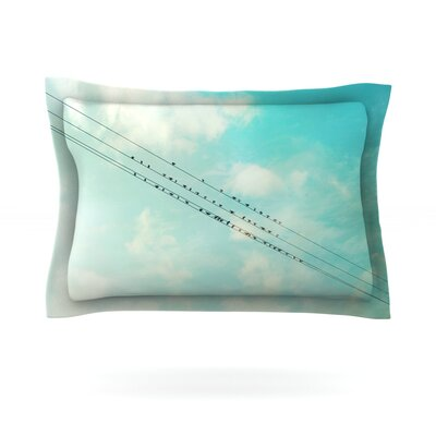Birds on Wires by Sylvia Cook Featherweight Pillow Sham Size: Queen, Fabric: Cotton