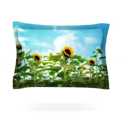 Sunflower Field by Sylvia Cook Featherweight Pillow Sham Size: King, Fabric: Cotton