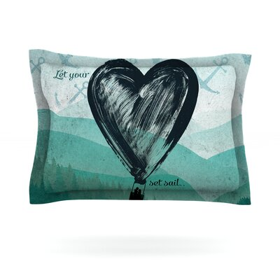 Heart Set Sail by Nick Atkinson Featherweight Pillow Sham Size: Queen, Fabric: Cotton