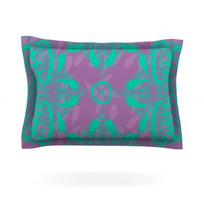 Motifs by Nandita Singh Pillow Sham Color: Green/Purple, Size: King, Fabric: Cotton