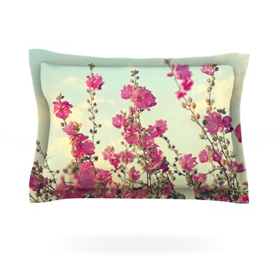Pink Lavatera by Sylvia Cook Featherweight Pillow Sham Size: Queen, Fabric: Cotton