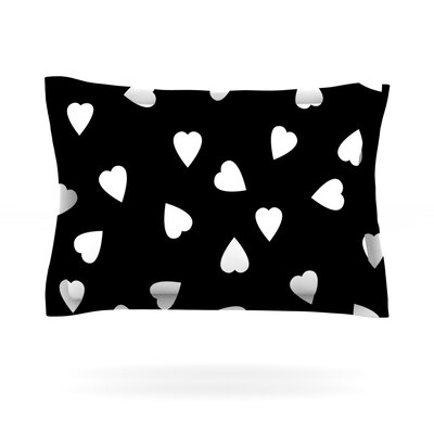 Hearts by Suzanne Carter Woven Pillow Sham Color: Black, Size: King