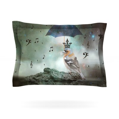 Umbrella Bird by Suzanne Carter Featherweight Pillow Sham Size: Queen, Fabric: Cotton