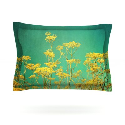 Yellow Flowers by Sylvia Cook Featherweight Pillow Sham Size: Queen, Fabric: Cotton