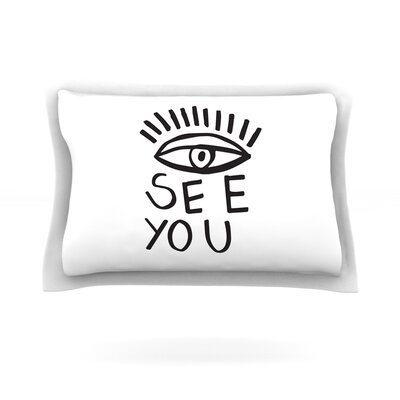 Eye See You by Vasare Nar Featherweight Pillow Sham Size: King, Fabric: Cotton