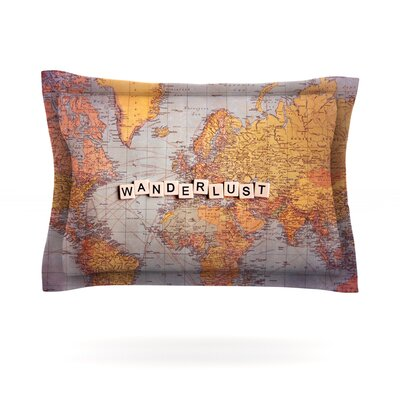 Wanderlust Map by Sylvia Cook Featherweight Pillow Sham Size: Queen, Fabric: Cotton