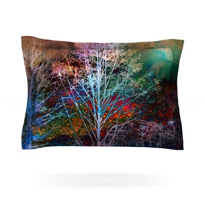 Trees in the Night by Sylvia Cook Featherweight Pillow Sham Size: Queen, Fabric: Cotton