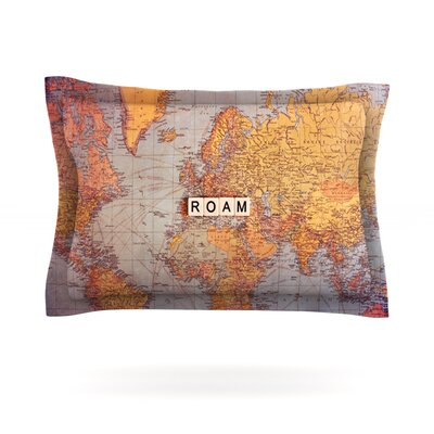 Roam Map by Sylvia Cook Featherweight Pillow Sham Size: King, Fabric: Cotton