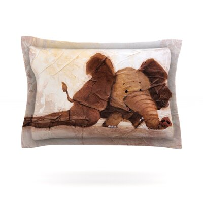 The Elephant with the Long Ears by Rachel Kokko Featherweight Pillow Sham Size: Queen, Fabric: Cotton