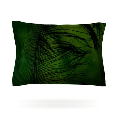 Feather Green by Robin Dickinson Featherweight Pillow Sham Size: Queen, Fabric: Cotton