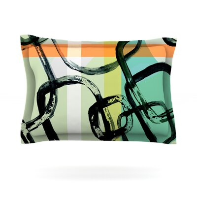 Sixties Stripe by Theresa Giolzetti Featherweight Pillow Sham Size: King, Fabric: Cotton