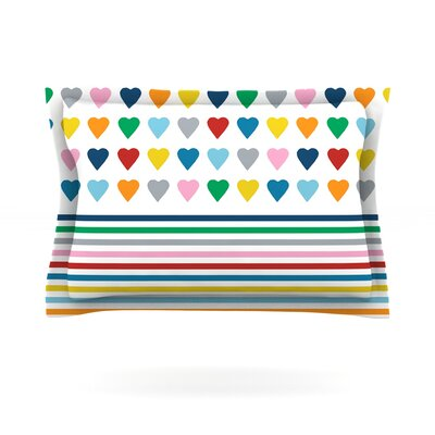 Heart Stripes by Project M Woven Pillow Sham Size: King, Color: Multi