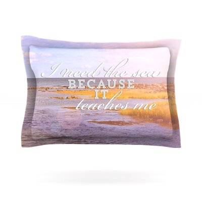 I Need The Sea by Rachel Burbee Featherweight Pillow Sham Size: King, Fabric: Cotton