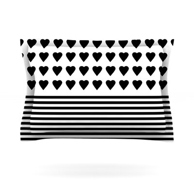 Heart Stripes Black and White by Project M Featherweight Pillow Sham Size: Queen