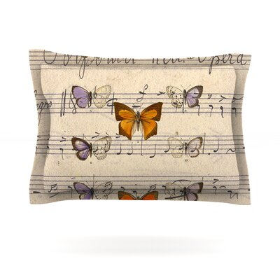 Butterfly Opera by Suzanne Carter Featherweight Pillow Sham Size: King, Fabric: Cotton