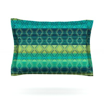 Denin Diamond by Nina May Featherweight Pillow Sham Size: King, Color: Green/Turquoise, Fabric: Cotton