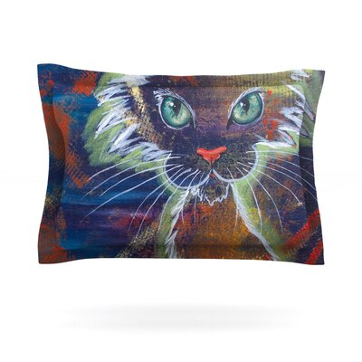 Rave Kitty by Padgett Mason Featherweight Pillow Sham Size: King, Fabric: Cotton