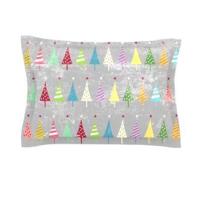 Crazy Trees Frost by Snap Studio Featherweight Pillow Sham Size: King, Fabric: Cotton