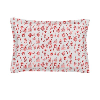 Miniature Christmas by Snap Studio Featherweight Pillow Sham Size: King, Color: Red/Gray, Fabric: Cotton
